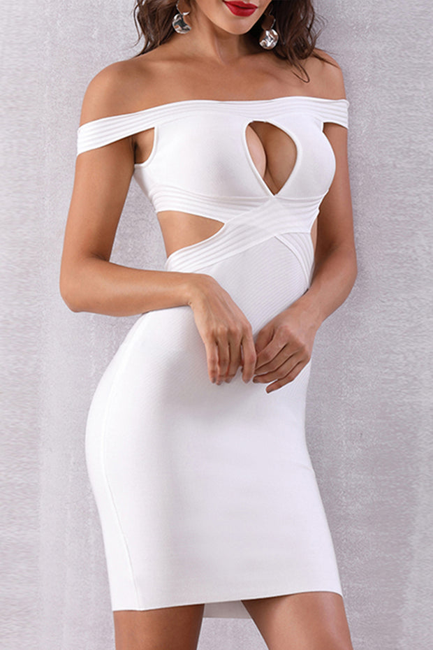 Off Shoulder Keyhole Cut out Mini Dress