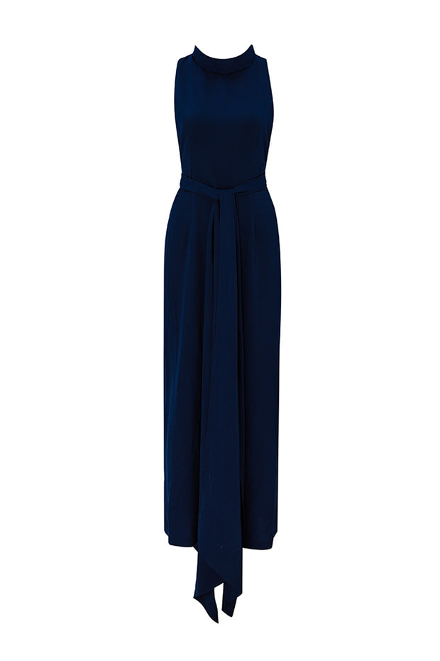 Stand Neck Sleeveless Jumpsuit With Belt
