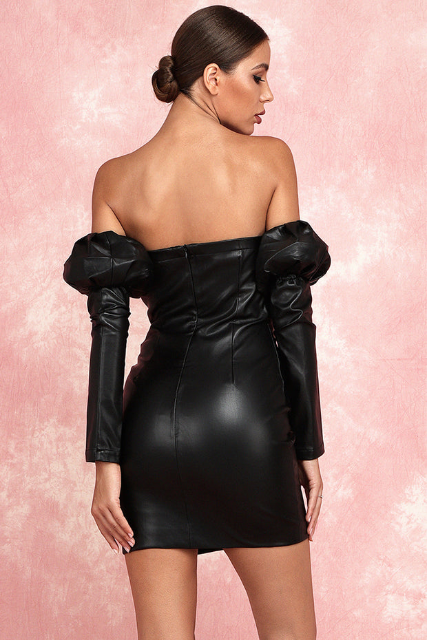 Isobel Strapless PU Dress-Black
