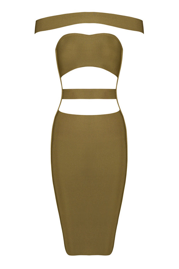 Cutout Panel Bardot Bandage Dress Solid Color