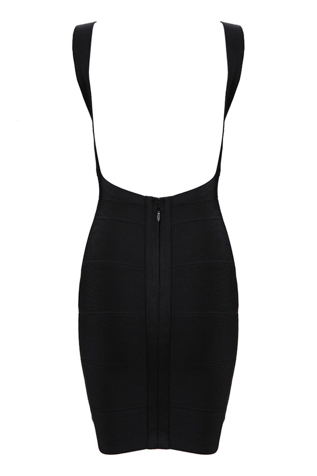 Strap V Neck Bandage Bodycon Midi Dress
