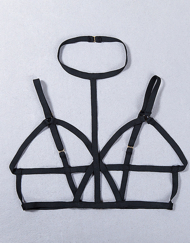Hot Black Bandage Elastic Bra Body Harness Tanks Sexy Crop Top