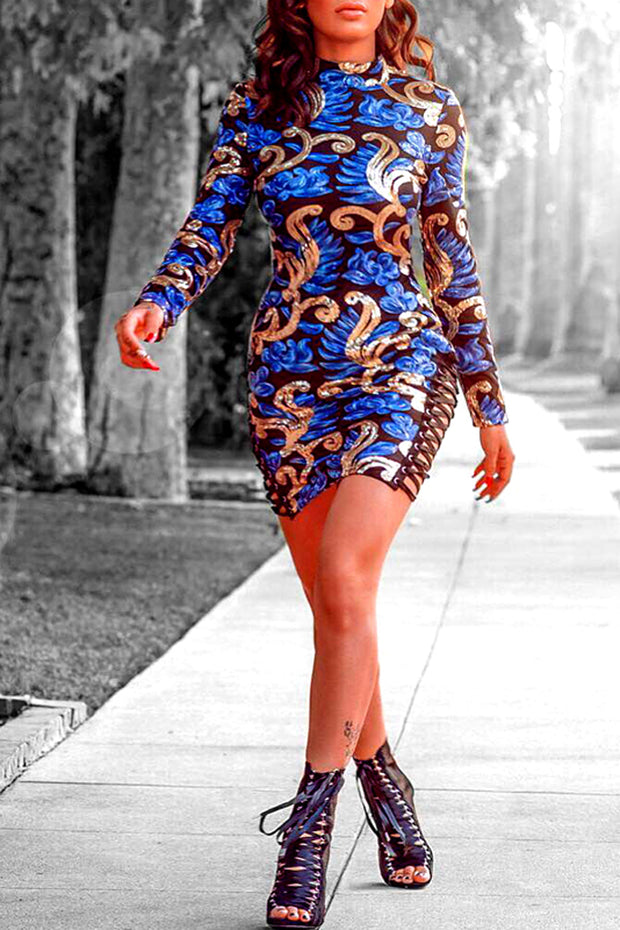 Stand Neck Long Sleeve Sequined Print Sheath  Dresses