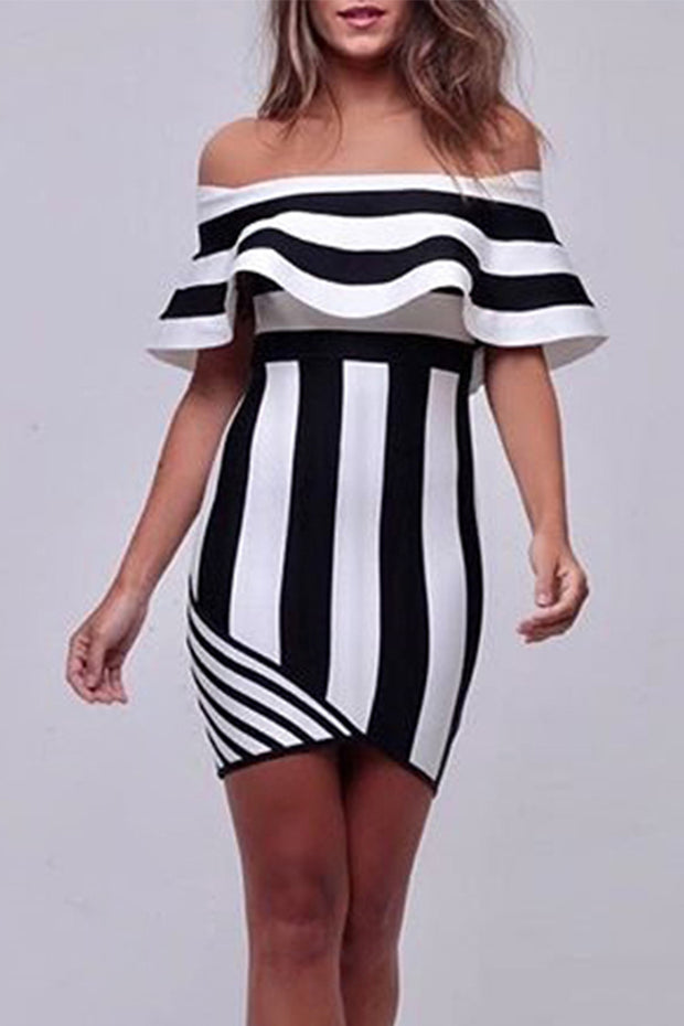 Colorblock Off Shoulder Bandage Mini Dress