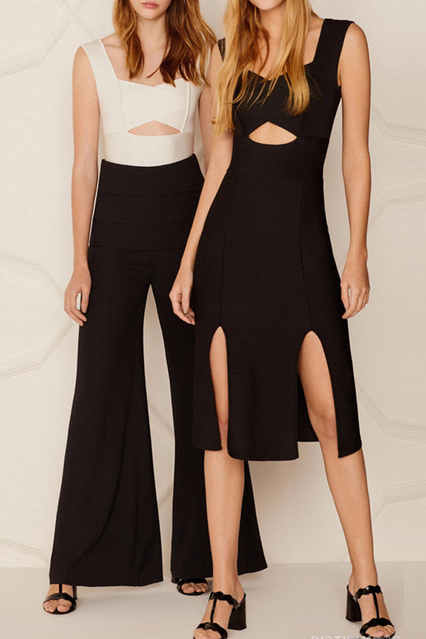 Sexy  Sleeveless Hollow Out Strap Split  Midi Dress