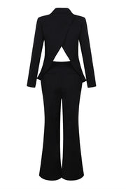 Long Sleeve Backless Blazer Pants Suit Sets -Black