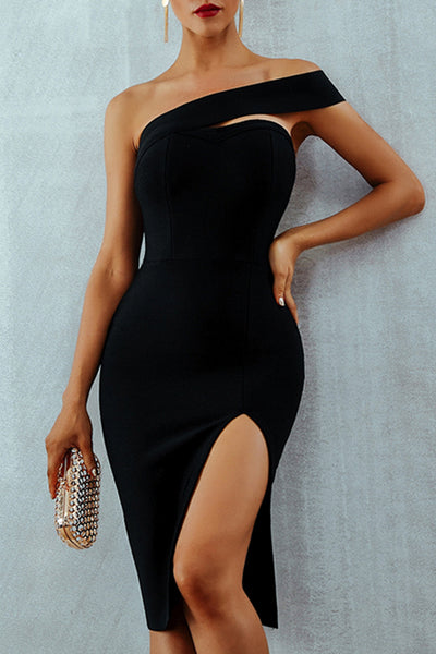 Asymmetric Bardot One Shoulder Midi Dress