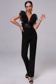 Mesh Tie Detail Frill Cinching Straight Jumpsuit
