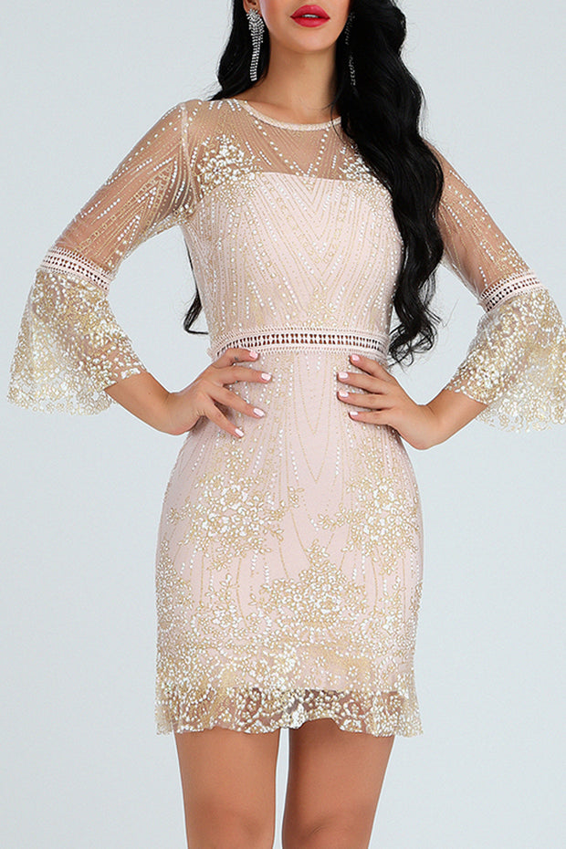 Trumpet Sleeve Embellished Bandage Dress