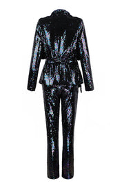 Sequins Long Sleeve Blazer Pants Suit Sets