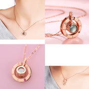Rose Gold 100 languages I love you Projection Pendant Necklace