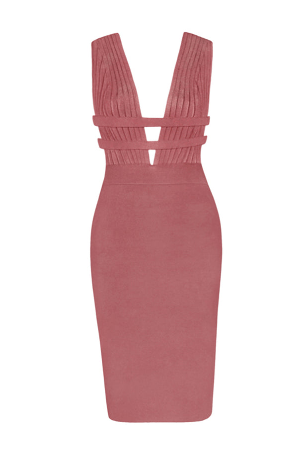 Deep Plunge Slim Fit Bandage Bodycon Midi Dress