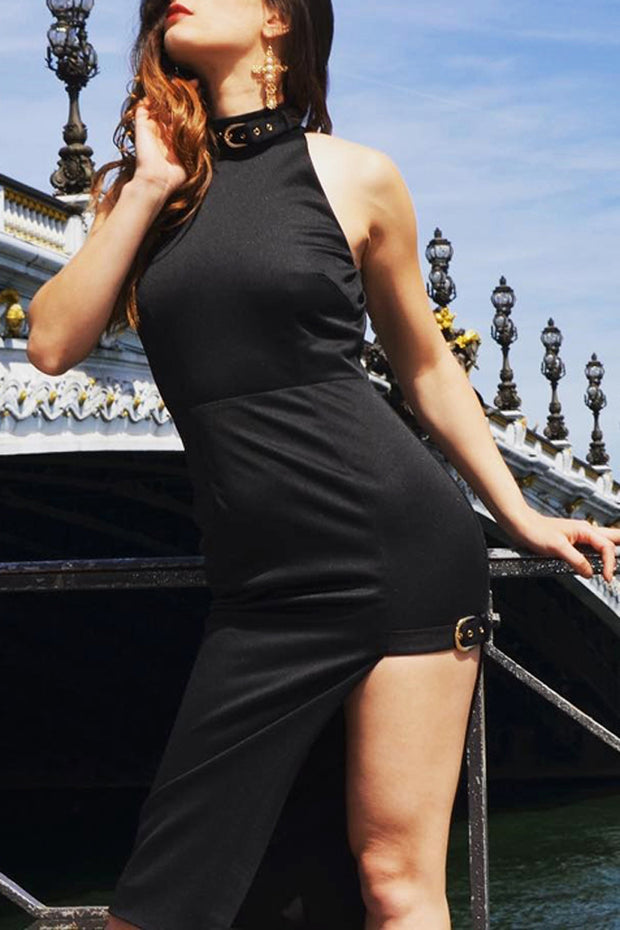 Button Rivet Sleeveless Irregularity Bodycon Party Dresses Lady
