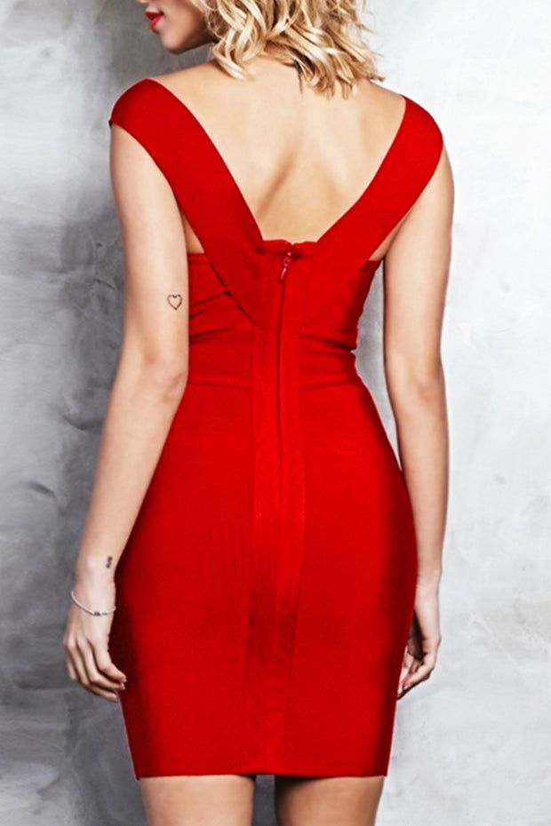 Plunge V Neck Midi Bandage Dress