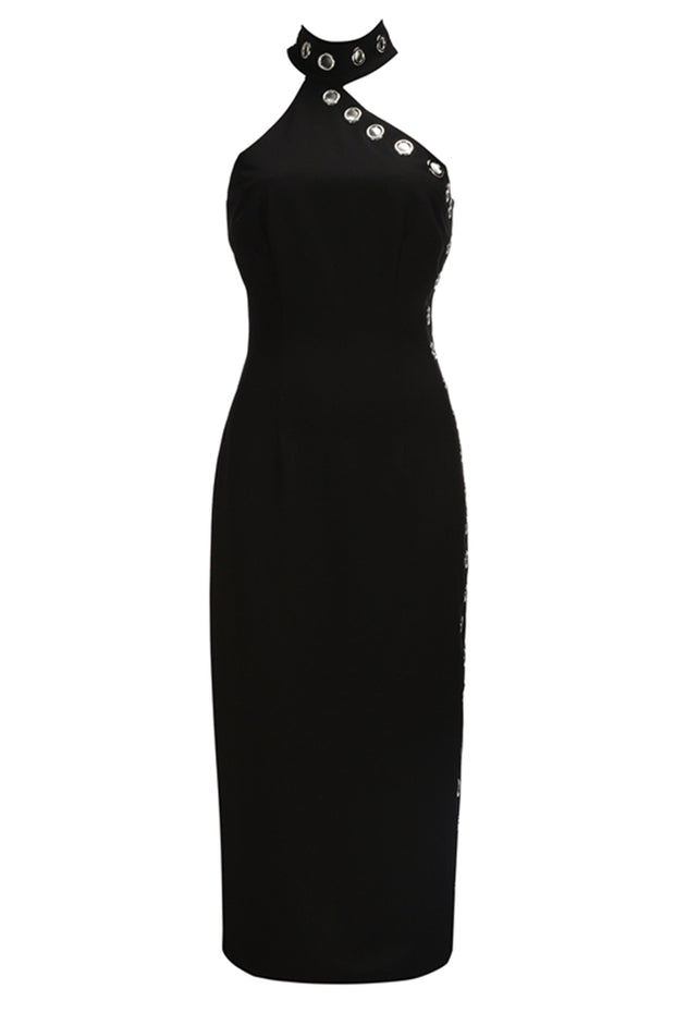 Choker Rivet Sleeveless Dress-Black