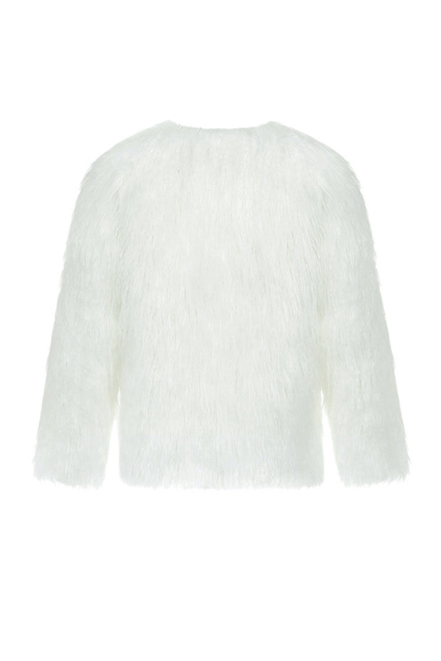 Woolen long Sleeve Short Coat - White