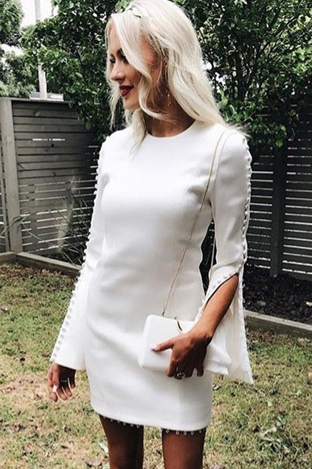 Full Flare Sleeve Sexy Lace Up Mini O Neck Lady Casual  Dress