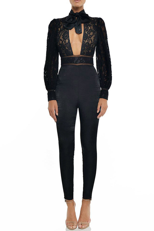 Lace Long Sleeve Backless Bodycon Jumpsuit -Black