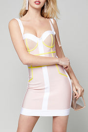 Colorblock Strap Sweetheart Striped Bandage Mini Dress