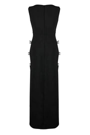 Hollow Out Backless O Neck  Black Floor Length  Dress