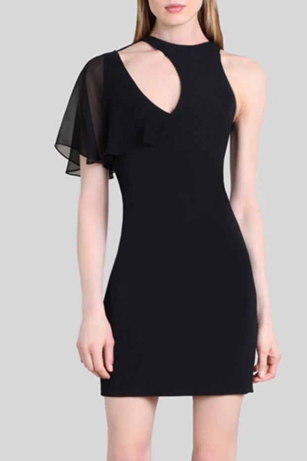 Black Round Neck One Shoulder Chiffon Sleeve Bandage Mini Dress