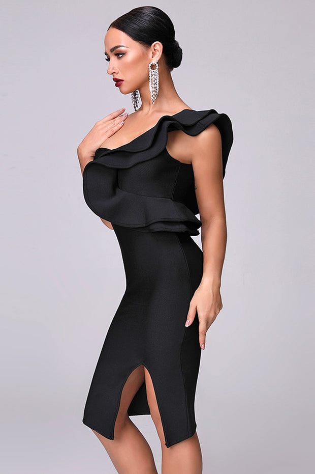 Ruffles Trim Slit Bodycon Midi Dress
