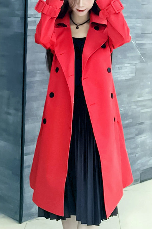 Full Sleeve Turn Down Collar  Trench  Button Long Coat