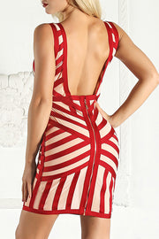Plunge Sleeveless Striped Low Back Dress
