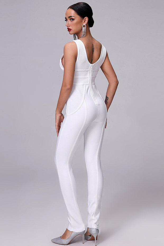 White Extreme Plunge  Cut Out Sexy Bandage Bodycon Jumpsuits