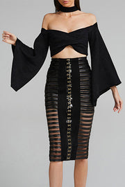 Chocker Off Shoulder Bell Sleeve Mesh Two Piece Set