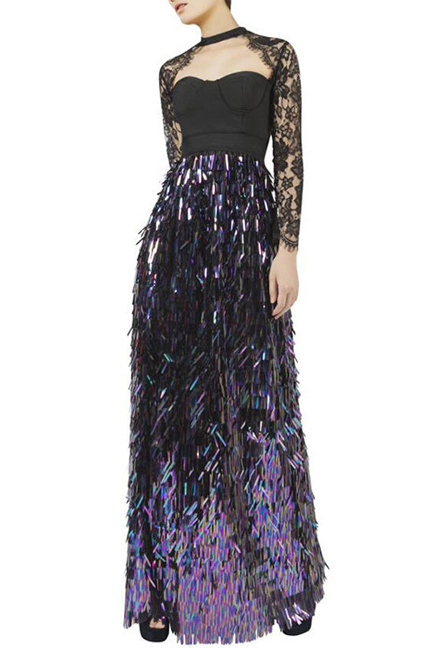Sexy Lace Strapless  Full Sleeve Sequined O Neck Floor Length Dress