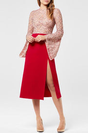 O Neck Flare Sleeve A Line Lace Spit Dress