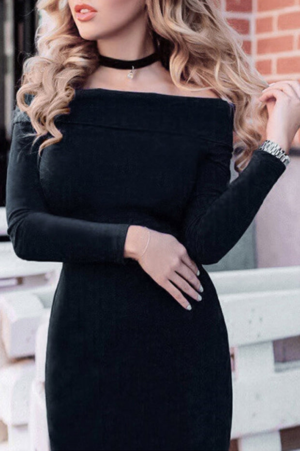 Off the Shoulder  Slash neck Full Sleeve Sheath Dress