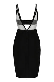 Black V Neck Chiffon Bandage Bodycon Mini Dress