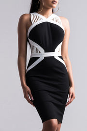 Black And White V Neck Sleeveless Bandage Dress