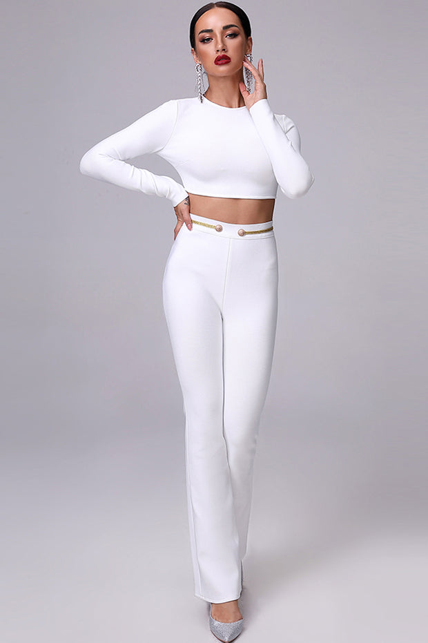 White Short Tops Flare Pants Bodycon Suits