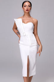 Sash With Buckle Front Slit Midi Dress