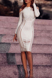 Long Sleeve Cold Shoulder Mesh Bandage Dress