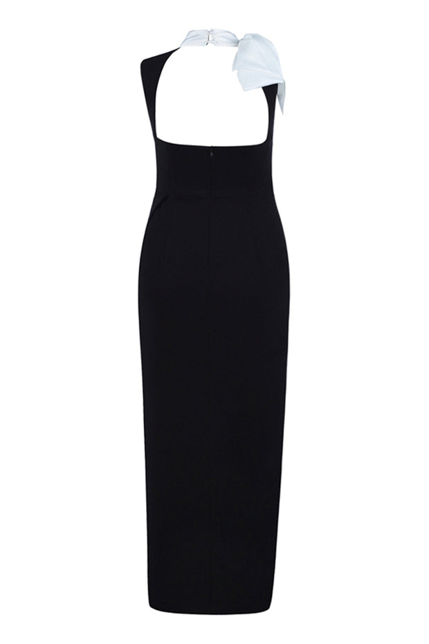 Bow Halter Backless Bandage Gown-Black
