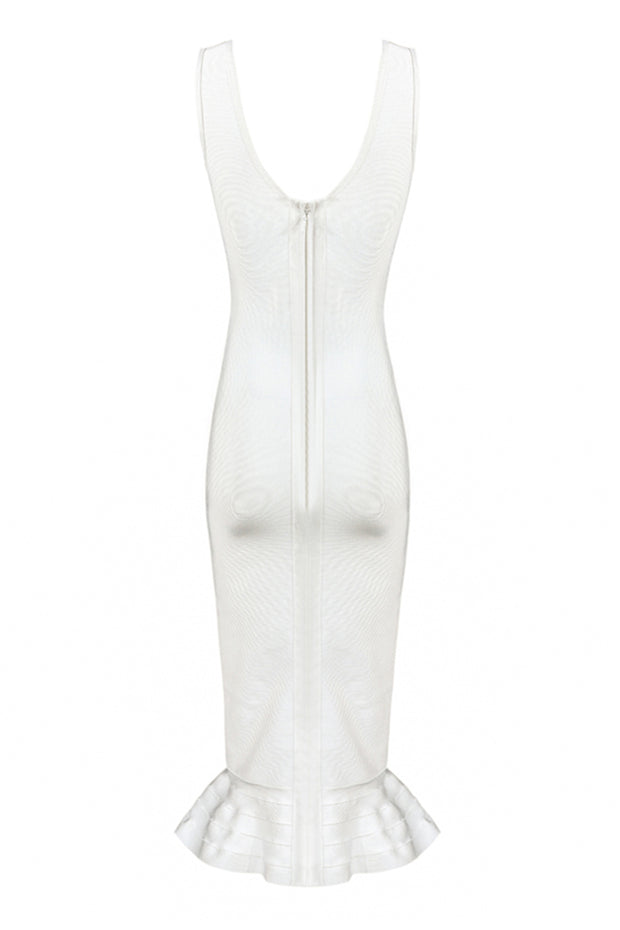 Strappy Fluted Midi Bandage Dress White