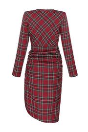 V Neck Long Sleeve Red Plaid Dress