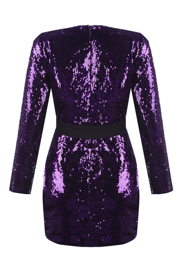Deep V Sequined Wrap Dress - Purple
