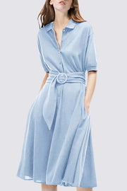 Button Mid-Calf Half Sleeve Slim  Casual Dress