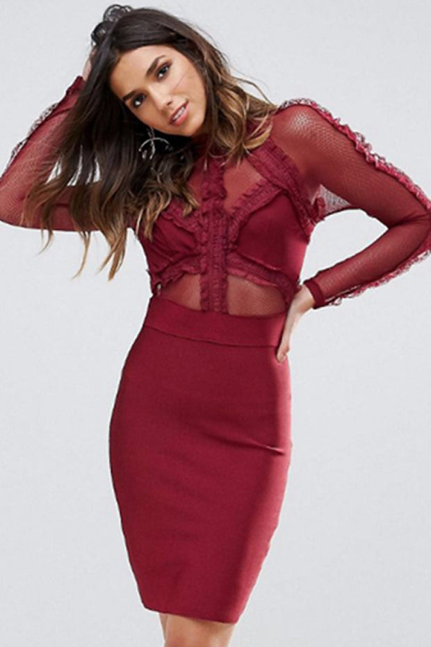 Long Sleeve Lace Mini Bandage Bodycon Dress