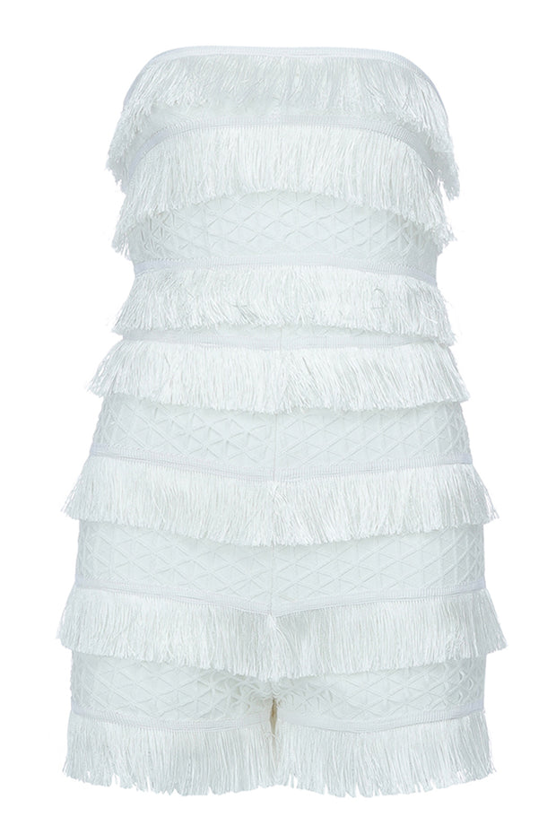 Caroline Strapless Fringe Playsuit-White