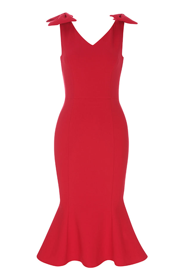 Off The Shoulder Mermaid Dress - Red