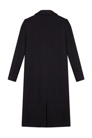 Long Sleeve Woolen Maxi Coat - Black