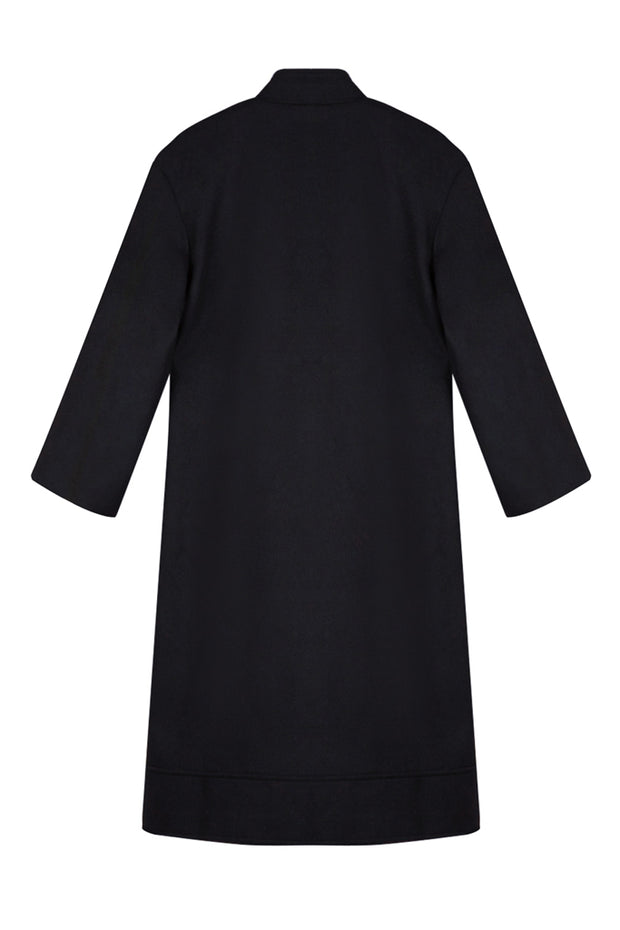 Pocket Long Sleeve Woolen Maxi Coat - Black