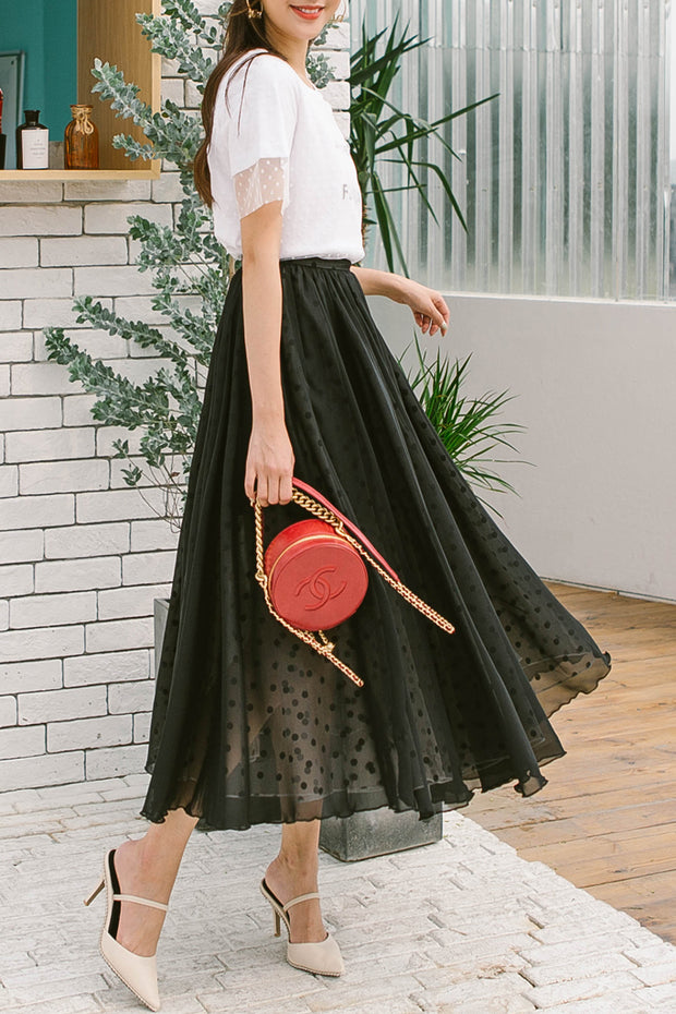 Casual Dot Mesh Skirt-Black
