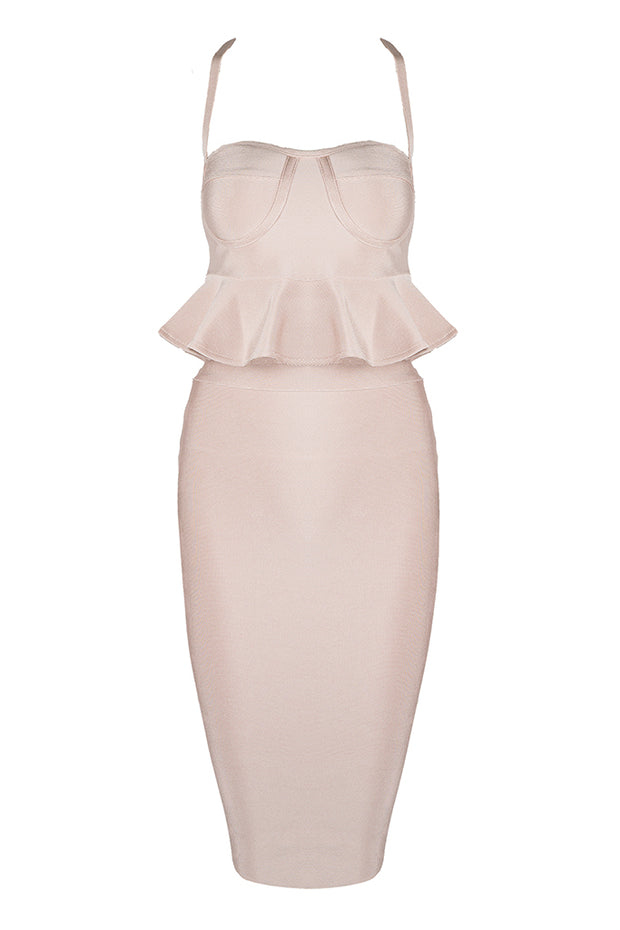 Peplum Cross Padded Two Piece Bandage Mini Dress